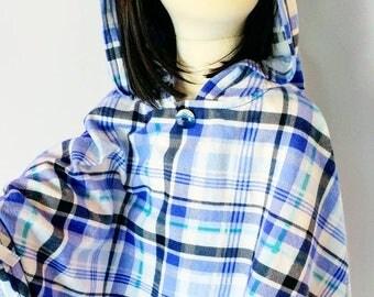 Blue Hoodie Poncho