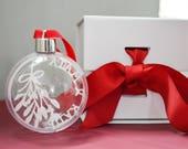 Mistletoe Personalised Name Papercut Christmas Bauble with luxury gift box