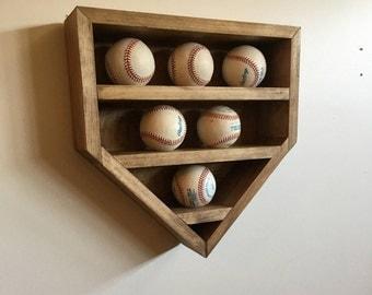Baseball Display Shelf, Baseball Shelf, Home Plate Baseball Shelf, Home Plate Shadow Box, Baseball Shadow Box