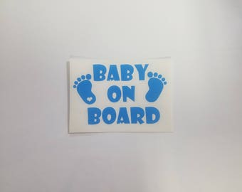 Baby on Board with footprint and heart vinyl car decal BLUE