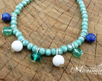 Blue Lapis lazuli White agate Crystal bracelet Green Swarovski bracelet Multi color bracelet Feminine bracelet Swarovski crystal Gemstone