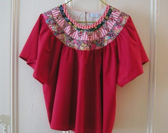 Summer SALE !!! Patchwork Red cotton smock top / Size UK 10-12