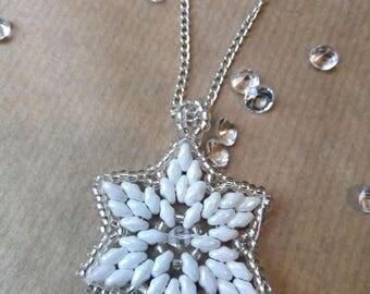 White Snowflake Pendant