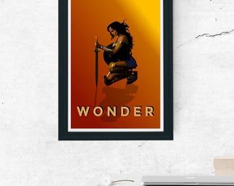 Wonder Woman 2017 Film Minimal Movie Poster Gal Gadot DC (A1, A2, A3, A4)