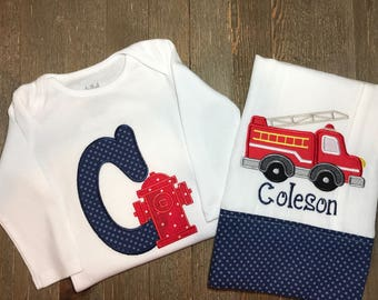 Personalized Embroidered Fire truck and hydrant onesie® and burp cloth set // Firefighter // Toddler // Baby // Home Coming Outfit