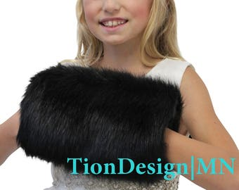 Black Faux Fur Hand Muff For child size, faux fur hand warmer, wedding fur muff, bridal fur muff 270F-BLK-M