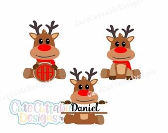 Reindeer Svg, Reindeer Monogram SVG, Deer svg, Christmas svg, Dxf, Eps, printable PNG, Silhouette, Cricut, SCAL