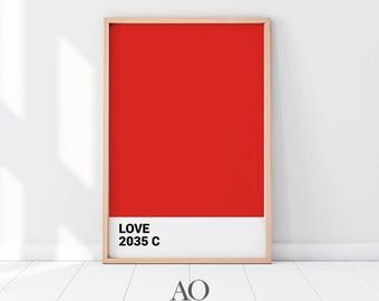 Red Pantone Print 2017, Up Minimalist Poster, Red Printable, Printables, Red Pantone Color Poster, Love Print, Gift for Her, Red, Red Print