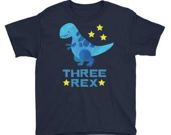 Three Rex T-Rex Dinosaur Three 3 Year Old Boy Girl Third Birthday Party Kids Youth Short Sleeve T-Shirt