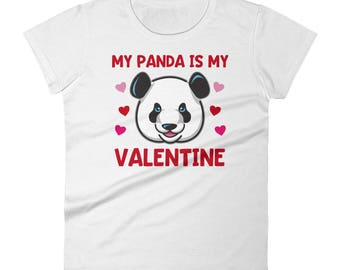 My Panda is My Valentine Panda Bear Valentines Day Animal Cute Bears Hearts Red Pink Women's T Shirt