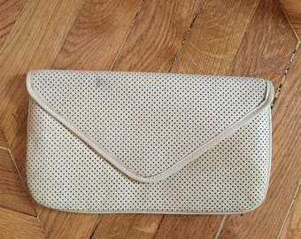 White natural leather pouch. Vintage 70's. made in Italy.