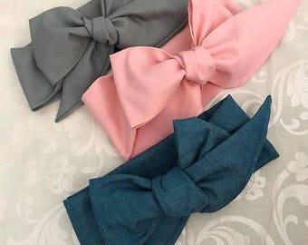 Headwrap Bundle - Denim, light pink, gray