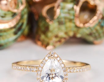 Pear Shaped Engagement Ring White Topaz Wedding Ring Halo Diamond Half Eternity Birthstone Gold Anniversary Promise Women Bridal Antique
