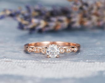Rose Gold Moissanite Engagement Ring Art Deco Band Antique Wedding Bridal Half Eternity Ring Anniversary Promise Diamond Solitaire Engraving