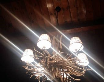 Driftwood chandelier,hanging light,lamp.lighting,beach decor,coastal,nautical,rustic,farmhouse laker,wood,home decor,ceiling lamp,cottage