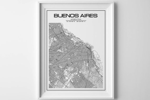 Buenos Aires Map City Map Buenos Aires Poster Buenos Aires - Argentina map to print