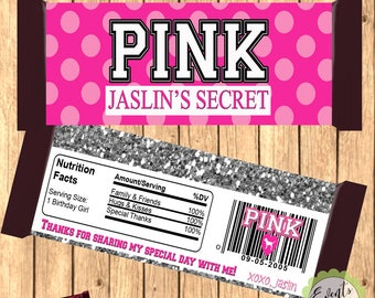 Victoria's Secret PINK Custom Candy Bar Wrapper, Victoria's Secret PINK Candy Bar Favors, Custom Favors
