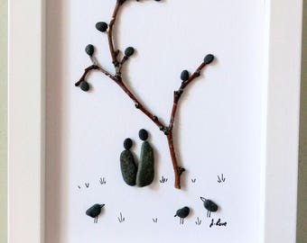 Unframed 5 by 7 pebble art, romantic couple, anniversary gift, engagement gift, wedding gift, birthday gift, by Jenny Love