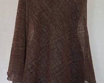 Dark brown poncho, linen poncho, summer poncho, knit poncho, knit cape, linen cape, brown cape, linen shawl, brown shawl, linen shawl