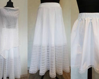 White linen skirt with cotton lining and lace, linen skirt, knit skirt, lace skirt, wedding skirt, bridal skirt, summer skirt, white skirt