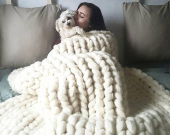 Chunky knit blanket etsy for How to make a big chunky knit blanket
