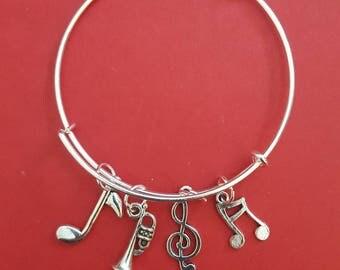 Trumpet Themed Charm Bracelet