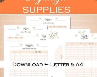 Supply inventory tracker, craft business organizer, printable planner, supplies, purchases list, printable letter size and a4 PDF