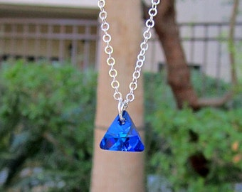 Bermuda Blue Swarovski Triangle Charm Necklace Sterling Silver