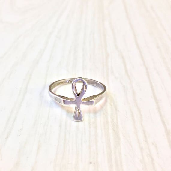 Vintage sterling silver ankh ring ankh jewelry sterling like this item aloadofball Images
