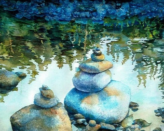 Lewisville Rock Totum Original Watercolor Painting 29 inches X 18.5 inches Blue Green Gray