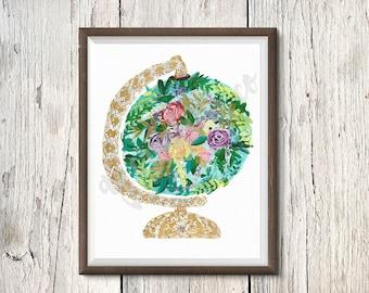 Floral Globe|Digital Download|Instant|8x10|9X12|Printable|boho|Acrylic|Bohemian|Art|Print|Nursery|Flower Child|earth|world|travel