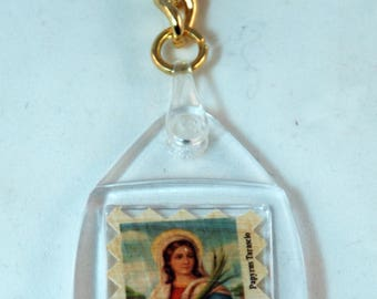 "Traditional Sicilian Papyrus Keychain ""Saint Lucy"""