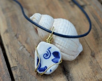 Scottish Sea Pottery Pendant, Original Sea Pottery Necklace, Blue and Navy Sea Pottery Jewelry, Gifts for Her, Authentic Gifts