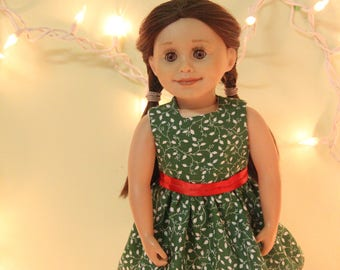 "Green Christmas Dress for 18"" Dolls"