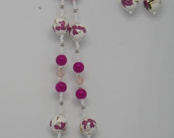 Pink Floral Necklace and Earrings Set