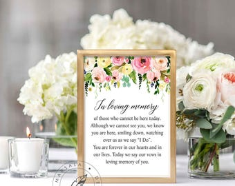 Loving Memory Sign, Wedding Memory Table Sign, 2 Sizes, Memorial Sign, Rememberance Sign, Printable Decor, Instant Download, Digital/Lizbeth