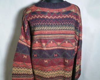 90s St. Michael Israeli Alpaca Wool Geometric Sweater Sz Large XL XXL 2XL Oversize Brown Red Blue 1990s Marks & Spencer Funky Crewneck Hygge