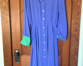 Vintage 1980s Purple and Green Dress with Belt Size 12