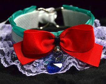BDSM/DDLG/Kitten Play Collar // Disney Ariel Inspired Collar with Sapphire Swarovski Heart Pendant