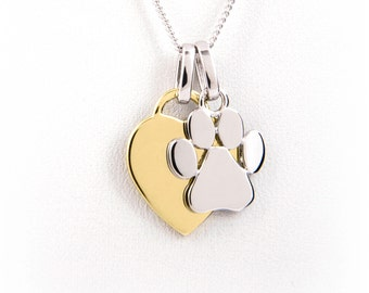 Paw Print Charm Necklace - Yellow Gold Plated - Engraved -Dog Paw Necklace -Dog Owner Gift -Dog Lover Gift-Pet Memorial-Dog Memorial Jewelry
