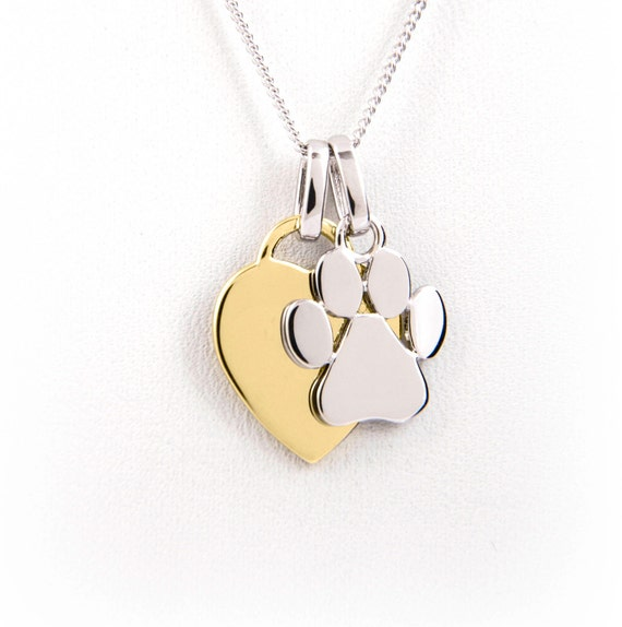paw print charm necklace yellow gold plated engraved