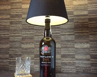 Taylor's Port Bottle Lamp With Black Shade Upcycled 75cl