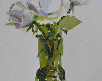 White Rose......................................watercolours, pastels, original one off, artist, painting, still life, flowers, Scottish