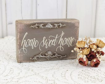 Home sweet home sign Rustic wooden signs New home gift Small signs for home Living room art Vintage Shabby chic sayings Gift for newlyweds