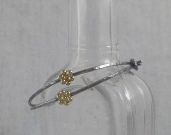 Classic Sterling Silver Hand Forged Hoop Earrings with 14K Gold Daisy Flower Accent, Large 1 3/8 inch
