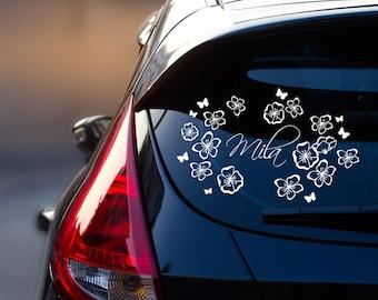 Car Decal Sticker Rear Window Hibiskus with Custom Name M1940