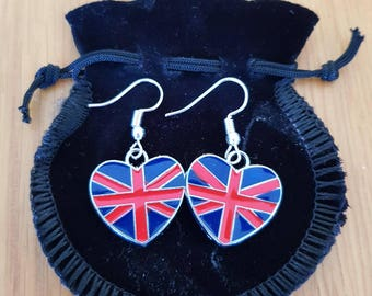 Earrings Heart Shaped Enamel Silver Plated Hook EUROVISION, Royal Wedding, Olympics,Spice Girls tour or because u love them!