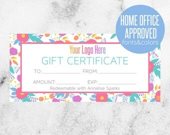 Custom Colorful Gift Certificate // Home Office Approved HOA Colors and Fonts // 50% off