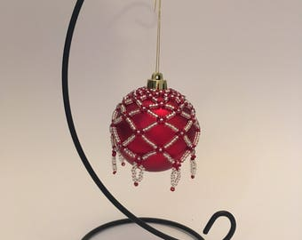 Christmas Tree Decoration / Hand Beaded Silver and Red Christmas Ornament Cover
