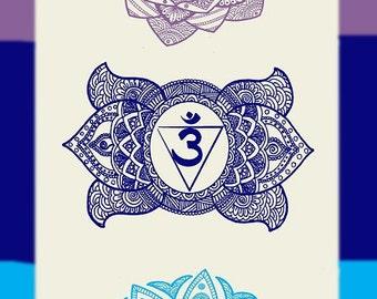 """Large 12"""" X 50"""" 7 Chakra Mandala Hanging Banner Tapestry, Featuring New Age Beautiful Mandala Style Chakras"""